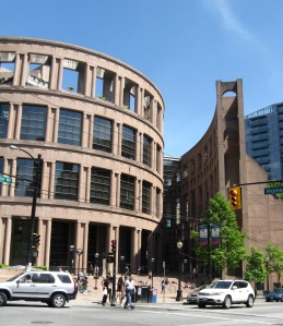 Front of the Vancouver Central Library. The ellipse and the side wall.