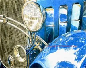 Colored Pencil, vintage car, car art, coloured pencil