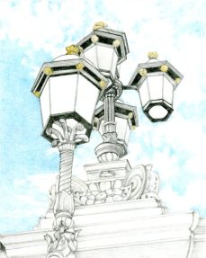 """""""Looking Up in London"""" 8x10"""" Graphite and Colored Pencil on Drawing Paper"""
