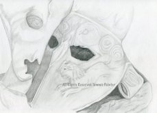 """""""Roman Mask"""" 9x12"""" Graphite on Drawing Paper"""