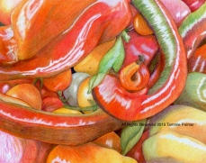 """""""Tomatoes & Peppers"""" 8x10"""" Colored Pencil on Bristol"""