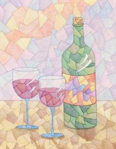"""""""Wine for Two"""" 11x14"""" Colored Pencil on Bristol"""