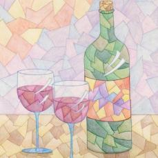 """Wine for Two"" 11x14"" Colored Pencil on Bristol"