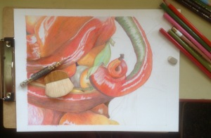 peppers, tammie painter, art, work in progress, colored pencil