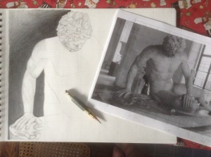 Dying Gaul, drawing, graphite