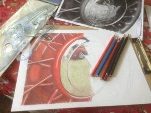 colored pencil, colored pencil art, art, vintage car