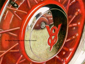 colored pencil, colored pencil art, art, drawing, classic car