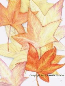 colored pencil art, leaves, fall, autumn