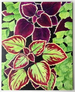 acrylic paint, painting, art, coleus, botanical art